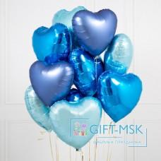 Букет из шаров Голубые сердца микс