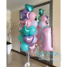 Композиция из шаров Розовое тиффани