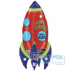 Фольгированная фигура 3D Ракета С Днем Рождения