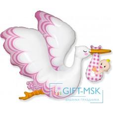 Фольгированная фигура Аист принес девочку (розовый)