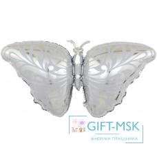 Фольгированная фигура Бабочка серебро