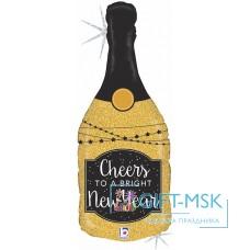 Фольгированная фигура Бутылка Новогоднее шампанское