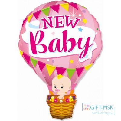 Фольгированная фигура Воздушный шар для девочки (розовый)
