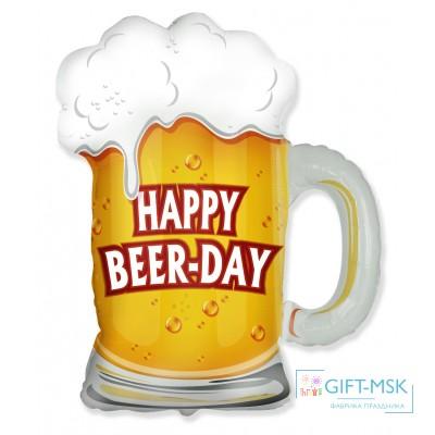 Фольгированна фигура Пиво в кружке С днем рождения