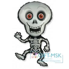 Фольгированная фигура Танцующий скелет серый