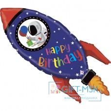 Фольгированная фигура Космическая ракета С Днем Рождения