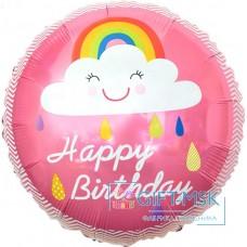 Фольгированный круг С Днем Рождения  (облако и радуга)  для девочки