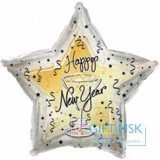 Фольгированная звезда С Новым годом бокал