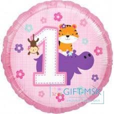 Фольгированный круг Первый День Рождения (для девочки)
