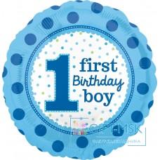 Фольгированный круг 1-й День Рождения Мальчика (точки)