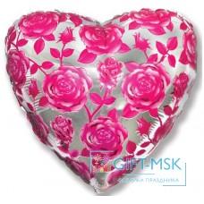 Фольгированное сердце  Розы