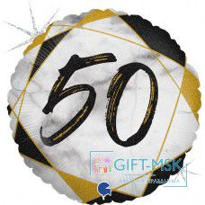 Фольгированный круг Цифра 50 (голография)