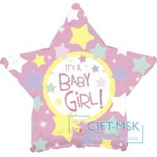 Фольгированная звезда С рождением девочки