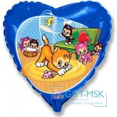 Фольгированное сердце  Забавные маленькие котята