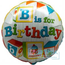 Фольгированный круг День рождения (кубики)