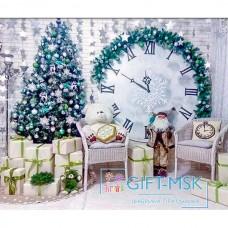 Фотозона на новый год с часами и елкой