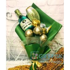 Крафтовый букет из шаров Искристое шампанское