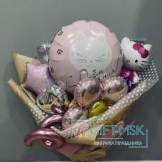 Крафтовый букет из шаров Hello Kitty