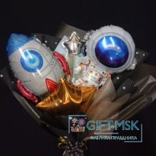 Крафтовый букет из шаров Космос