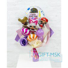 Крафтовый букет из шаров Куклы LOL