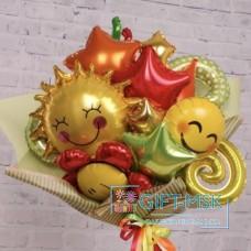 Крафтовый букет из шаров Лучик солнца