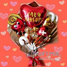 Крафтовый букет из шаров Любовь моя