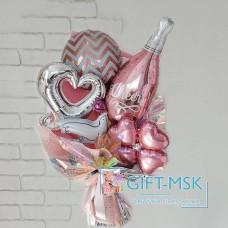 Крафтовый букет из шаров Молодоженам