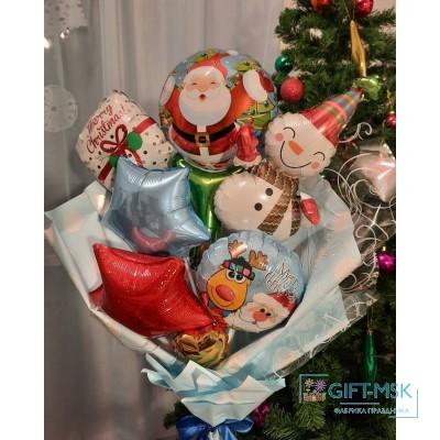 Крафтовый букет из шаров Счастливого нового года