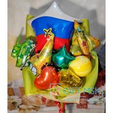 Крафтовый букет из шаров Триколор