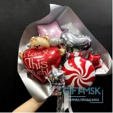 Крафтовый букет из шаров Влюбленный мишка