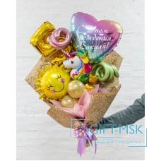 Крафтовый букет из шаров Волшебный единорог