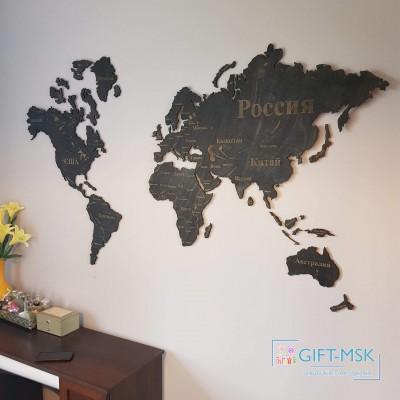 Карта мира из дерева Тиковое дерево
