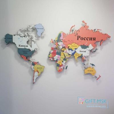 Многоуровневая карта мира Разноцветная