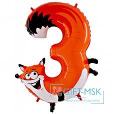 Воздушный шар Цифра 3 Лиса