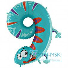 Воздушный шар цифра 9 Ящерица