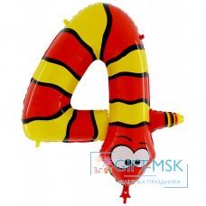Воздушный шар цифра 4 Змея