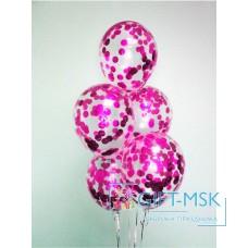 Прозрачные шары с конфетти Розовые