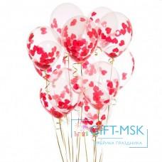 Прозрачные шары с конфетти Красные Сердца