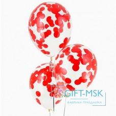 Прозрачные шары с конфетти Красные