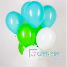 Гелиевые шары Белые Бирюзовые Зеленые